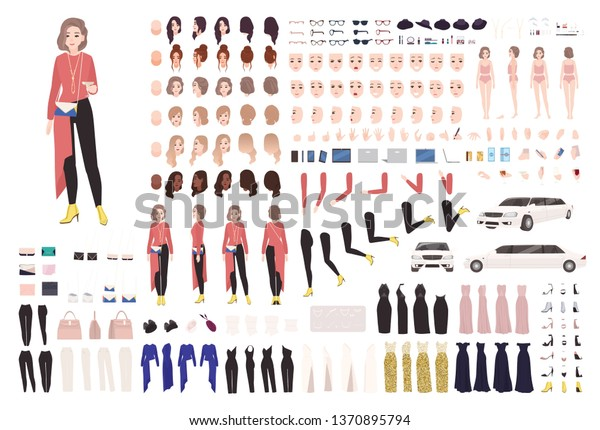 Elegant woman animation kit or DIY set. Collection of body parts, gestures, stylish clothes and accessories. Female celebrity in evening outfit. Front, side, back views. Flat vector illustration.