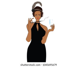 Elegant woman  with black dresses holding glass of drink, Party girl drinking and smoking isolated, Vector illustration in comic style isolated on white background. Party invitation girl.