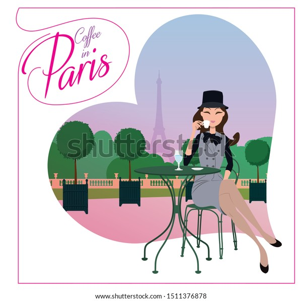Elegant woman drinking coffee in Paris. Beautiful brunette sitting in a park in Paris.