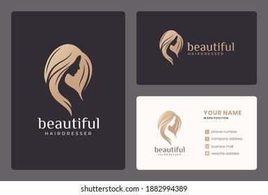elegant woman face, beauty salon, hairdresser logo design with business card template.