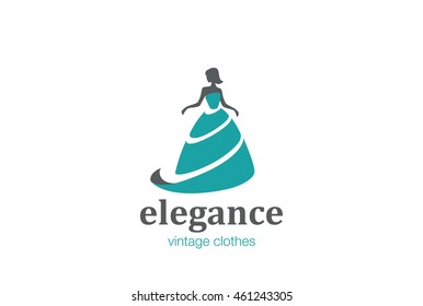 Elegant Woman Fashion Logo design vector template. Beauty Clothes store Logotype concept