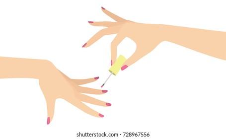 elegant woman hand doing manicure applying nail polish