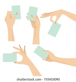 Elegant woman hands holding cards