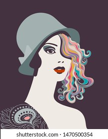 Elegant woman with hat and curly hair, 1920s era style. Eps10 vector