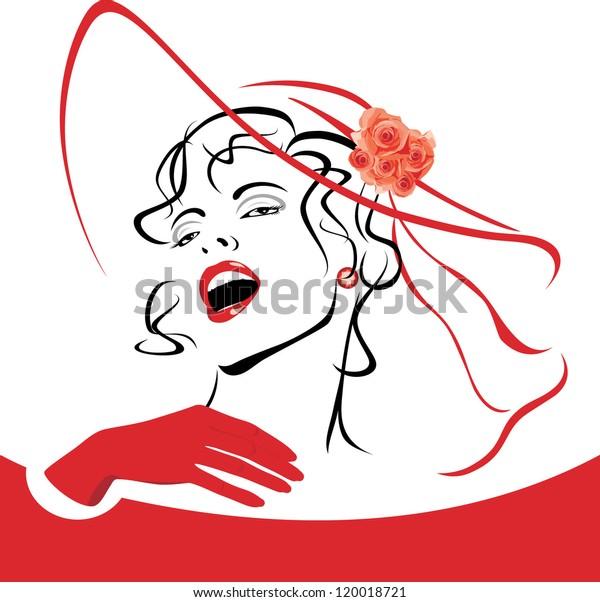elegant-woman-red-hat-veil-600w-12001872