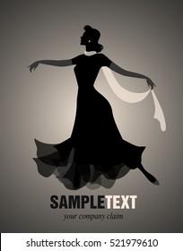 Elegant woman silhouette dancing retro style
