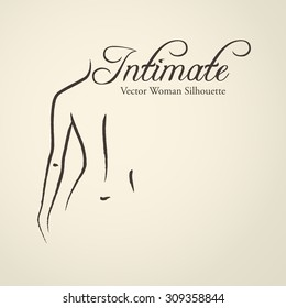 Elegant woman silhouette (emblem) in a linear sketch style. Intimate Hygiene, Skin and body care