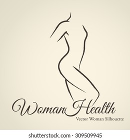 Elegant woman silhouette (emblem) in a linear sketch style. Intimate Hygiene, woman health, Skin and body care, diet, fitness