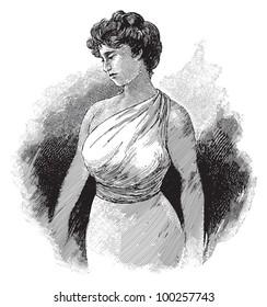 Elegant woman vintage fashion dress / vintage illustration from Die Frau als hausarztin 1911