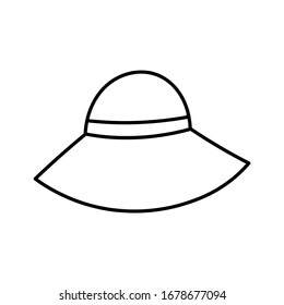 Elegant woman's hat isolated on white background. Headgear vector illustration for woman, girl or ladies. Summer sun protection. Doodle vector art. Single icon. Fashion flat sketch.