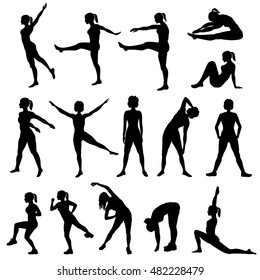 Elegant women silhouettes doing fitness exercises. Fitness club icon set, fitness exercises concept. Girls gym training vector illustration isolated on white background