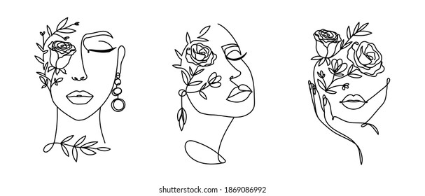 Elegant women's faces in one line art style with flowers.Continuous line art in minimalistic style for prints, tattoos, posters, textile, cards etc. Beautiful female fashion face Vector illustration