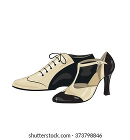 Elegant women's and man's shoes. Argentine tango, dance shoes. Vector illustration, isolated on white background.