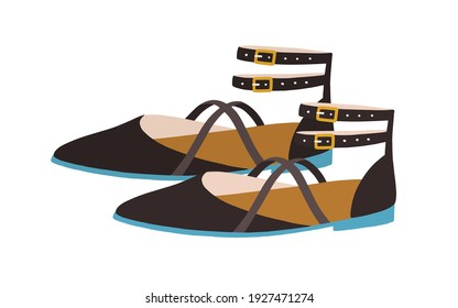 Elegant women's sandals with closed pointed toe, counter and buckled ankle straps. Summer fashion strappy footwear or shoes. Colored flat vector illustration isolated on white background