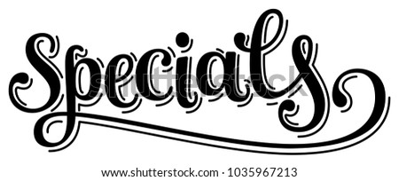 elegant word specials lettering calligraphy cursive stock vector