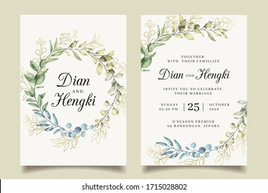 Elegant wreath leaves gold wedding invitation
