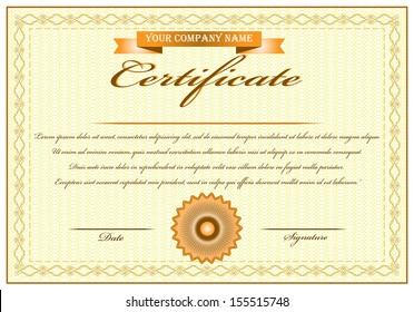 Elegant yellow certificate of achievement vector illustration with ribbon and stamp. Isolated editable eps10 vector design.
