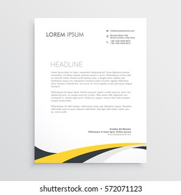 elegant yellow and gray waves letterhead design template