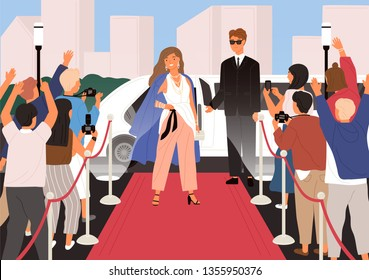 Elegant young beautiful woman, female celebrity, movie star or superstar posing in front of photographers during red carpet ceremony. Famous person. Flat cartoon colorful vector illustration.