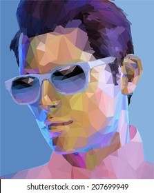 Elegant young handsome man wearing sunglasses, low poly abstract fashion portrait