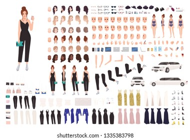 Elegant young woman animation set or constructor kit. Collection of body parts, gestures, postures, evening clothes. Female cartoon character. Front, side, back views. Flat vector illustration.