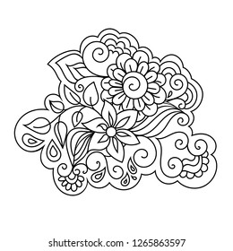 Elegant zentangle inspired coloring book style illustration with flowers and leaves.