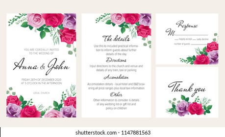 Elegantl floral wedding invitation set with purple, and pink roses. This wedding invitation template set includes four templates: invitation card, rsvp card, details and thank you card.