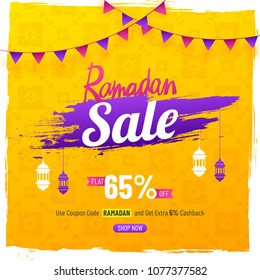 Elegent Sale Poster or Banner Design for Ramadan Sale with hanging lamps, and 65% off offer on yellow background.