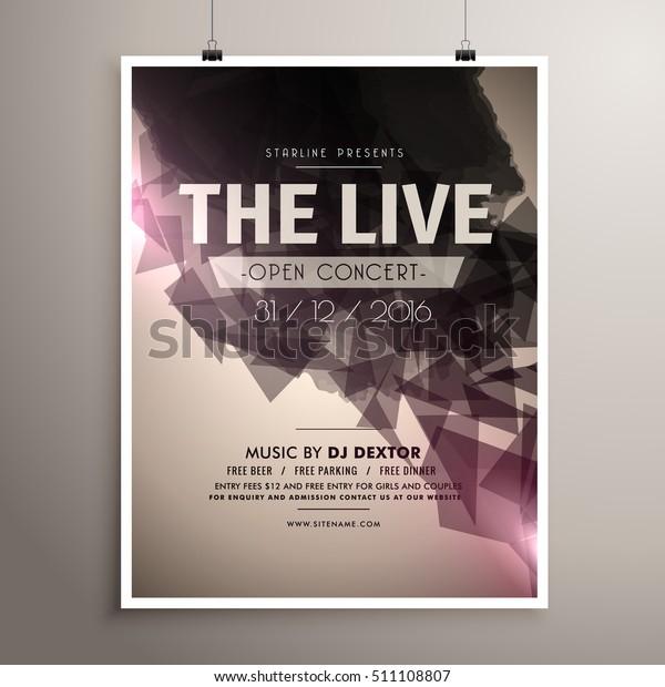 elegrant live concert music flyer brochure template