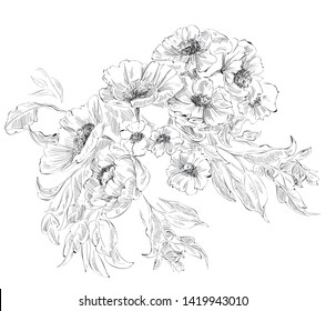 Element with Bouquet of flowers in toile de jouy style, black and white