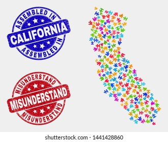 Element California State map and blue Assembled seal stamp, and Misunderstand distress seal stamp. Colored vector California State map mosaic of bundle modules. Red rounded Misunderstand stamp.