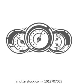 Element of the car service. Speedometer isolated on white background. Symbol for car service design logos and emblems. Vector illustration