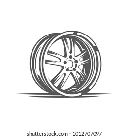 Element of the car service. Wheel isolated on white background. Symbol for car service design logos and emblems. Vector illustration
