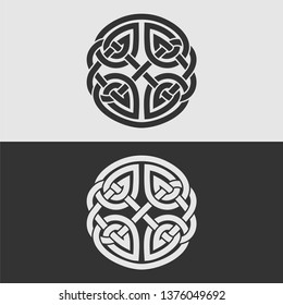 Element of Celtic ornament, isolated on gray and white background.