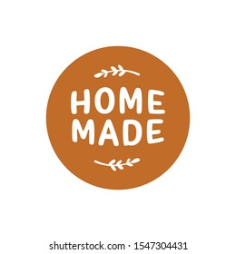 Element design for corporate identity, banner, business card, poster with hand drawn vector homemade sweets logo  Home made label.  Homemade Logotype. Desserts and sweet piece made home. simple logo.
