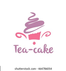 Element of design for corporate identity, banner, business card, poster with freehand drawn vector cake logo. Tea-cake baking logo on white background.