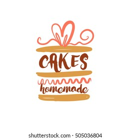 Element design for corporate identity, banner, business card, poster with hand drawn vector homemade sweets logo. Piece of cake isolated on white background. Desserts and sweet piece made home.
