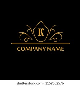 Element of the design of the golden monogram. Letter K. Can be used for coat of arms, for restaurant, royalty, boutique, cafe, hotel, heraldry, jewelry, fashion, wine. Vector illustration