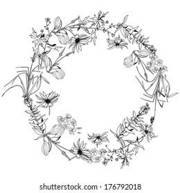 Element for design, round pattern with space for text with monochrome wild flowers and herbs