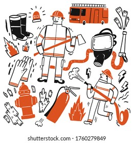 The element hand drawn of Fire fighting, Vector Illustration doodle style.
