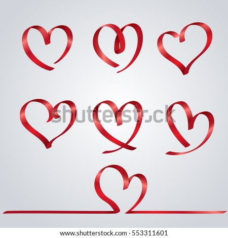 Element Heart Ribbon Valentines Day Love Stock Vector Royalty Free