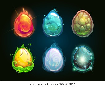 Element icons, dragon eggs set, vector illustration