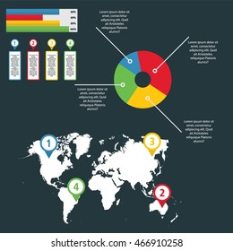 Element Infographic for business and presentation, world map, Circle Diagram, 4 Step