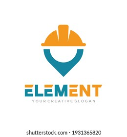 Element logo vector, Construct logo vector template. Helmet construction and pin design concept for building, architect, contractor, repair and landmark