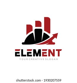 Element logo vector, Helmet Construct logo vector template. Helmet construct and growth design concept for building, architect, contractor, repair and landmark