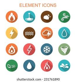 element long shadow icons, flat vector symbols