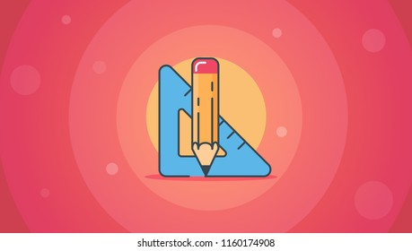 Element of science and technology. Measurements in mathematics, architecture and physics. Modern vector illustration for banners, app and posts.