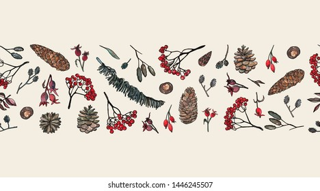 Element of seamless pattern. Pen sketch with watercolor style background . Nature elements : Leaves, ash branches, pine cone, rose hips. Vector illustration