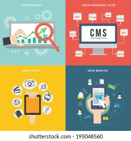 Element of SEO CMS mobile and marketing concept icon in flat design