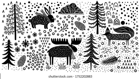 Element set nature forest wildlife Canada.Animal fox,hare,elk.Season winter park.Vector illustration.